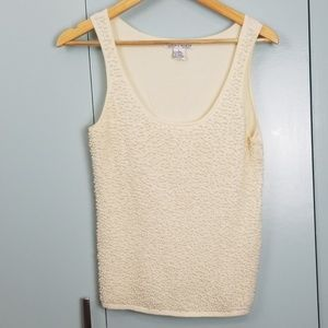WHBM cream sleeveless pearl top size L -C3